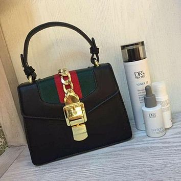 Gucci Women Leather Shoulder Bag Tote Handbag Black I