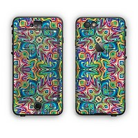 The Crazy Neon Mirrored Swirls Apple iPhone 6 Plus LifeProof Nuud Case Skin Set