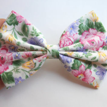 NEW - Anne Hair Bow - Colorful Floral Print Hair Bow with Clip