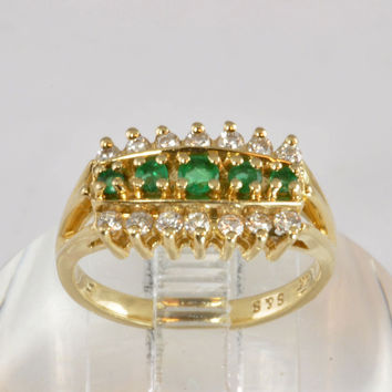 14KT Gold Diamond & Emerald Cocktail Ring - Estate Jewelry