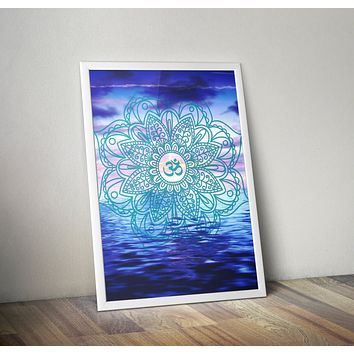 Ocean Mandala Beach Poster Bohemian Art Print Poster With Blue and White  Design no frame 20x30 Large