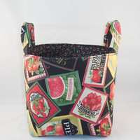 Fruit and Vegetable Themed Kitchen Fabric Basket With Handles For Storage Or Gift Giving