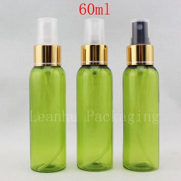 50pc/lot 60ml Fine Sprayer Plastic Bottle Light Green 60g Makeup Setting Spray Container, Small Perfume Bottles Cosmetic Package