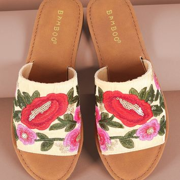 Bamboo Embroidered Floral Wide Band Slide Sandal