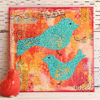 Turquoise Birds Mixed Media Painting on 8x8 Canvas Board