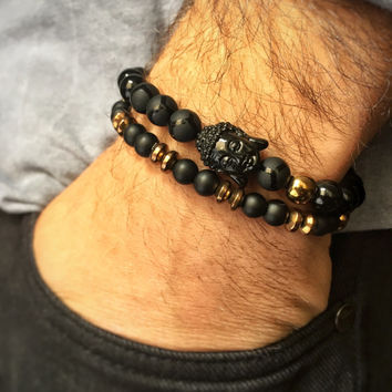 Handmade bracelet set for men, onix natural stone beaded bracelets with acrylic buddha bead