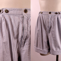 Vintage 80s 90s - Light Blue & White Stirpe Seersucker - Pleated Buttoned - High Waist - Cotton Trouser Style Shorts