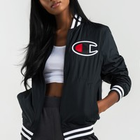 Champion Satin Baseball Jacket in Black with Red Lining