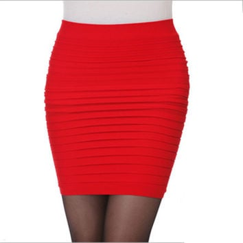 2016 Women Summer Pleated Skirt Candy Color Ladies Short Skirts Elastic Mini Bodycon Skirts Free Size 13 Colors KH950194