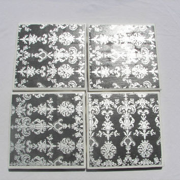 4 Tile Coasters in Formal Demask