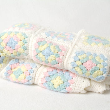Hand made Granny Square Afghan Baby Crib Blanket white, pink, blue, yellow or green