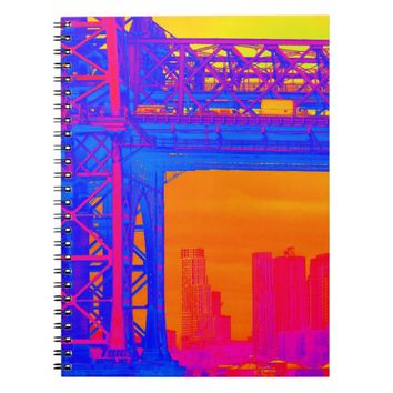 NYC Bridge View Blue, Pink and Orange Notebook