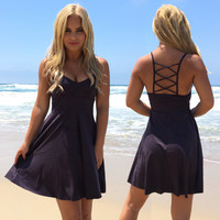 Fell In Love Skater Dress In Charcoal