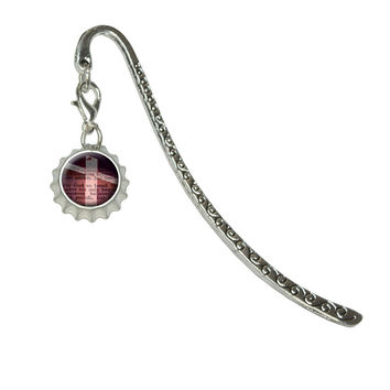 Cross Bible Verse John 3-16 For God So Loved WorldMetal Bookmark with Bottlecap Charm