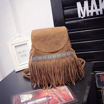 Tassel Fringe Bag Backpack 2017 New Fashion Suede Travel Leisure Tide Backpacks For Girls Women Bag Shoulder School Girl Bags