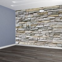 Designed Wallpaper Stacked Stone Wall