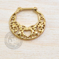 Gold Heart Lace Steel Septum Clicker