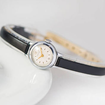 Micro wristwatch for women vintage, floral ornament face watch Seagull, petite lady watch, mid century watch gift, new premium leather strap