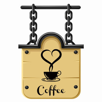 Lovely personality coffee cup kitchen household adornment wall stickers on the wall of sitting room SM6