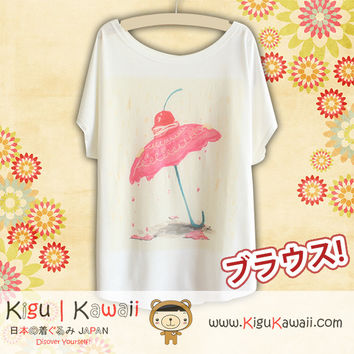 New Sweet Umbrella Fashionable Loose and High Quality Spring and Summer Tshirt Free Size KK435