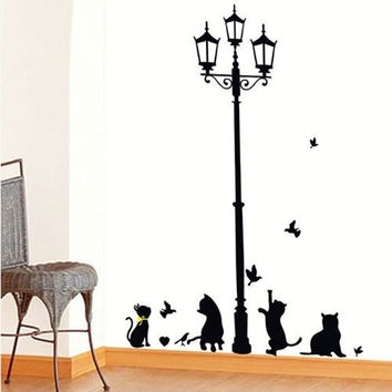 Hotsale Removable Lamp & Cat Wall Stickers Room Decals Wall Art Wallpaper Black (Size: S, Color: Black) = 1929848132