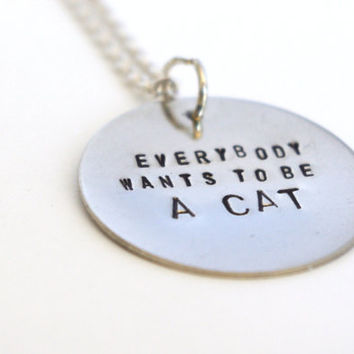 Disney Stamped Metal Necklace  Aristocats Quote by tabbycatdesign