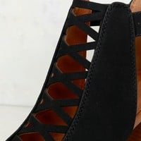 Criss Cross Cutout Bootie Black