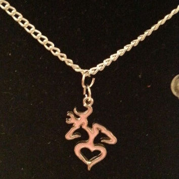 Pink browning buck and doe back to back heart style necklace, earrings, key ring, set jewelry
