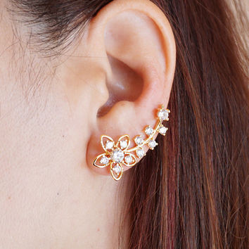 Flower Ear Climber, Floral Ear Crawler, Gold and Silver Flower Ear Crawlers, Flower Ear Pins, Crystal Ear Wraps, Ear Cuffs,