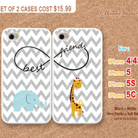 Giraffe, Deer, Best Friends, Elephant, Infinity Wish, Gray Chevron, iPhone 4/4s, 5, 5S, 5C Case, iPhone Hard Plastic /Soft Rubber Case
