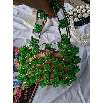 Vintage Metal Square Beaded Bag
