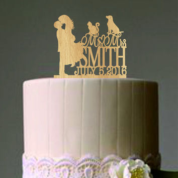 Bride and Groom Cake Topper, Mr and Mrs Cake Topper with a cat and dog, Wedding Couple Silhouette Custom Personalized Rustic Cake Topper