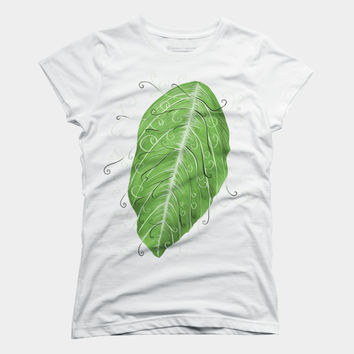Swirly Green Leaf Digital Art T Shirt By Boriana Design By Humans