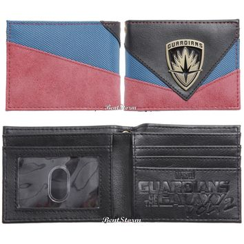 Licensed cool Marvel Guardians of the Galaxy Vol. 2 Shield Logo Bi-fold Bifold Mens Wallet NEW