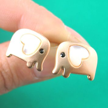 Baby Elephant Shaped Animal Stud Earring in Copper with Heart Shaped Ears