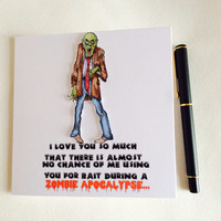 Valentines day Card, Zombie Card, Funny Zombie Card, Love Card