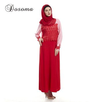 Causal Muslim Lace Maxi Dress Women Abaya Embroidey Diamonds Vestido Arab Robes Kaftan Islamic Instant Hijab Burka Jalabiya