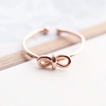 rose gold bowknot opening ring ,simple sterling silver ring