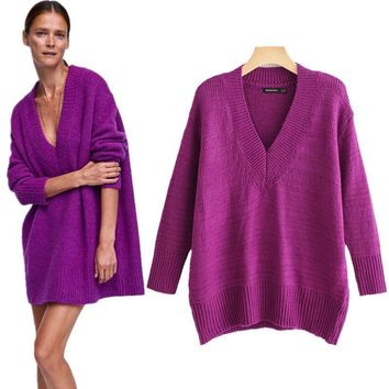 Deep V-Neck Big Warm Purple Sweater