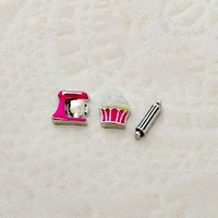 New spring Floating charms for living locket  Pink Mixer ... cupcake ... Rolling pin
