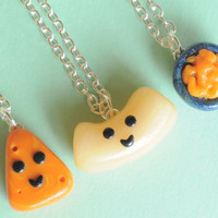 Best Friend Macaroni and Cheese Polymer Clay Necklaces