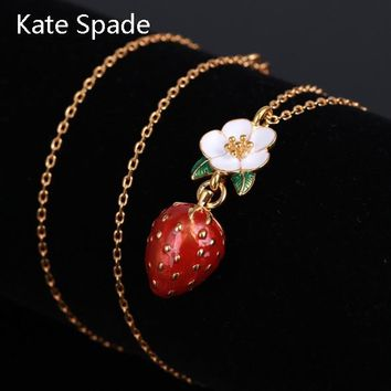Kate Spade New Fashion Floral Leaf Strawberry Pendant Women Necklace Golden