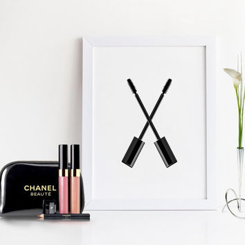 COCO CHANEL MASCARA,Makeup Bathroom Sign,Makeup Art,Girly print,Gift For Her,makeup Cosmetics,Fashion Print,Chanel Poster,Digital Print,