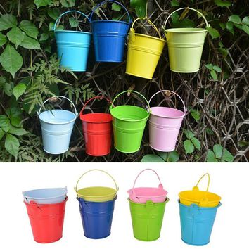 5pcs/Lot Colorful Macetas Vertical Garden Planters Metal Flower Pots Hang Bucket Hanging Wall Flowerpot Home Decor Pot De Fleur