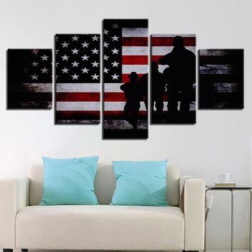 American Flag Soldier Military Wall Art on Canvas Framed Unframed