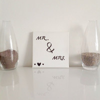 Mr & Mrs  - small canvas white black - Wall Art Canvas handmade written- original by misssfaith