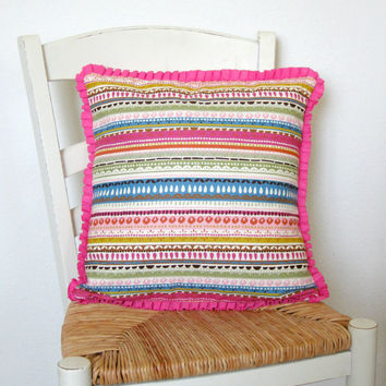 Pink Ruffle Trim Pillow Cover 16 x 16 by TerraCasa on Etsy