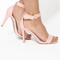 Ground Level Open Toe Heels In Pink