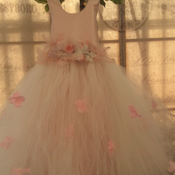 Flower girl blush tutu dress-bridal-Photoprop-PEACH