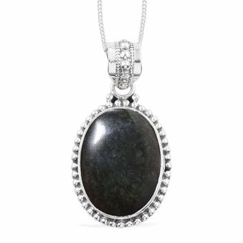 Mexican Velvet Obsidian Sterling Silver Pendant with chain